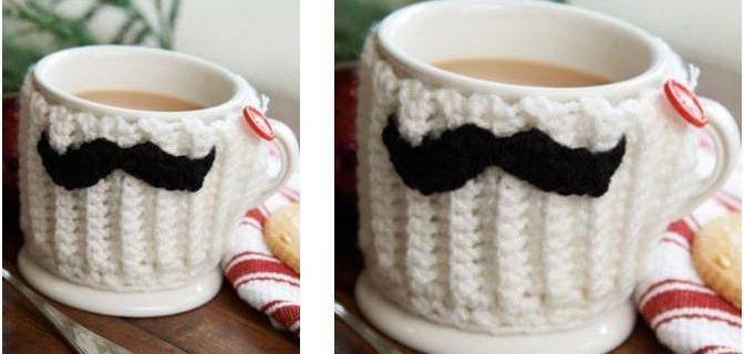 mustache crocheted mug hug | the crochet space