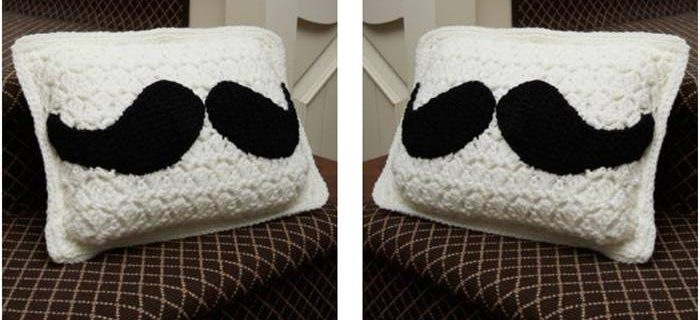 fun mustache crocheted pillow | the crochet space