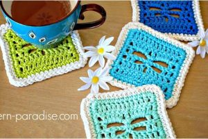 playful dragonfly crocheted coasters   the crochet space