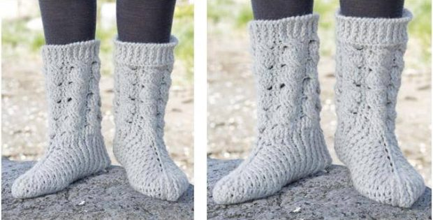 snowdrift crocheted socks | the crochet space