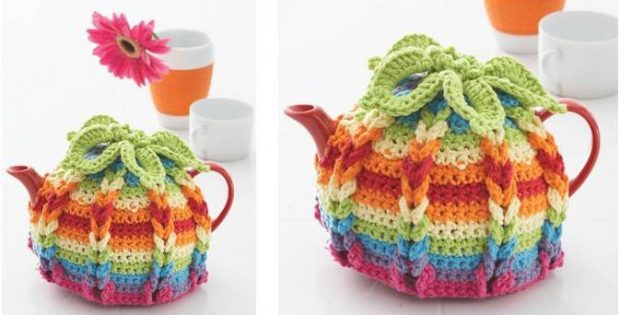 Vibrant Hibiscus Crocheted Tea Cozy [FREE Crochet Pattern]