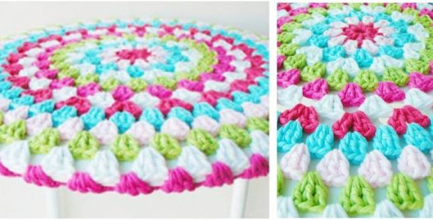 colorful crocheted stool cover | the crochet space