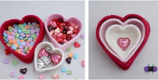 heart nesting crocheted baskets | the crochet space