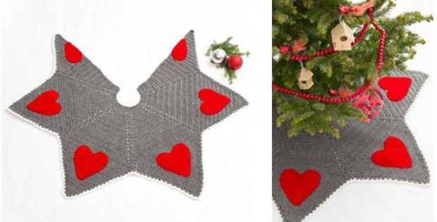 holiday hearts crocheted tree skirt | the crochet space
