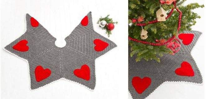 holiday hearts crocheted tree skirt   the crochet space