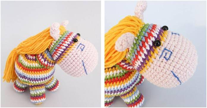 rainbow pony crocheted toy | the crochet space