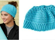 chic crocheted messy bun hat | the crochet space