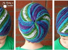 faux knit pinwheel crocheted beanie | the crochet space