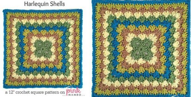 harlequin shells crochet square | the crochet space