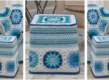 hexagon blues crocheted ottoman | the crochet space