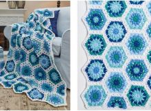 hexagon blues crocheted throw | the crochet space
