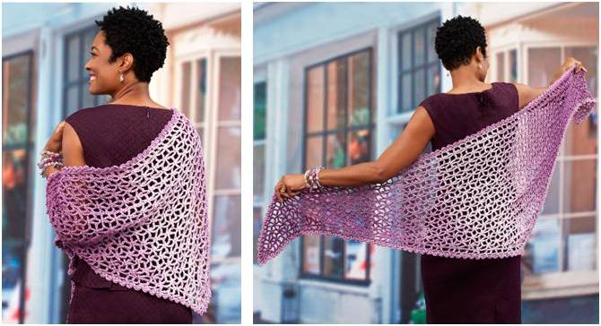 lacy isosceles crocheted shawl | the crochet space