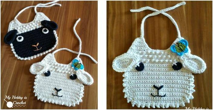 Little Lamb Crocheted Baby Bib Free Crochet Pattern