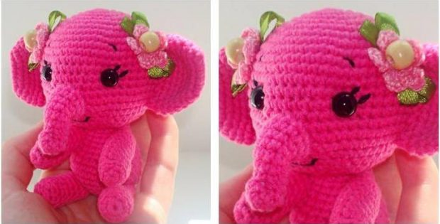 pretty pinky crocheted elephant | the crochet space