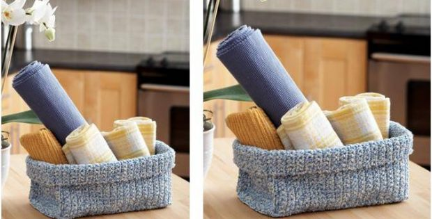 simple crocheted two strand basket | the crochet space