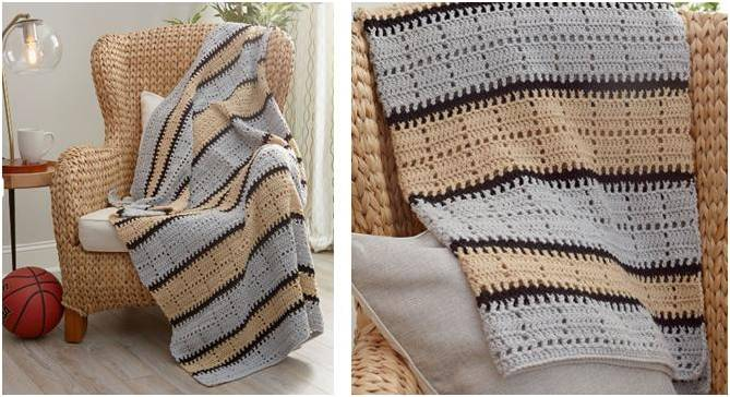 squares 'n stripes crocheted throw | the crochet space