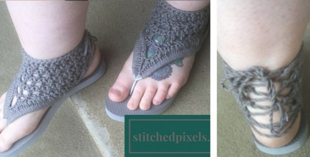 84c7454c8 Crocheted Gladiator Flip Flop Sandals  FREE Crochet Pattern