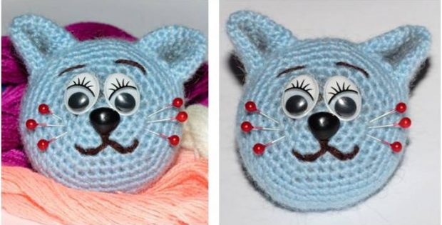cute crocheted cat pin cushion | the crochet space