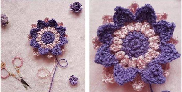 dahlia crocheted flower motif | the crochet space