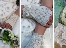 lace crocheted fingerless bridal gloves | the crochet space