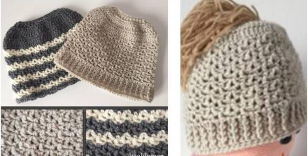 messy bun crocheted beanie | the crochet space