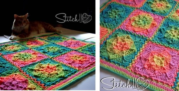 retro illusion crocheted baby blanket | the crochet space