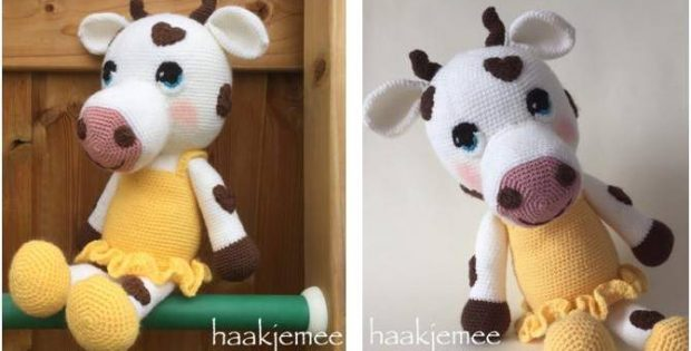 Sweetheart Crocheted Cow Free Crochet Pattern