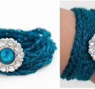 teal crocheted wrap bracelet | the crochet space