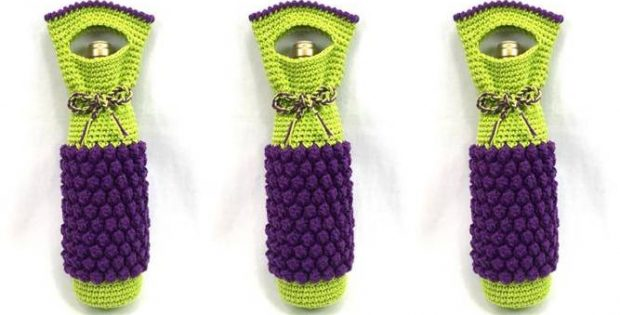 nifty wine bottle crocheted bag | the crochet space