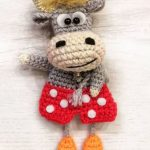 Cute Crochet Cow Couple. Male cow in red and white polka dot shorts    thecrochetspace.com