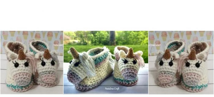 Crocheted Unicorn Baby Booties | thecrochetspace.com