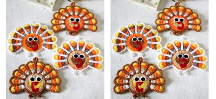 Thanksgiving Crocheted Turkey Coasters | thecrochetspace.com