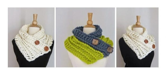 Crocheted Diana Button Cowl | thecrochetspace.com