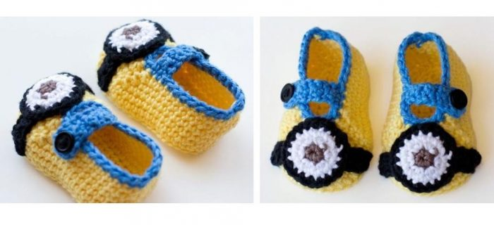 Crocheted Minion Baby Slippers | thecrochetspace.com