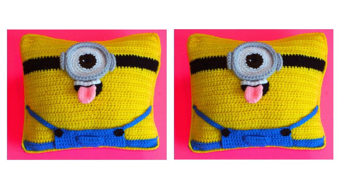 Crocheted Mighty Minion Cushion | thecrochetspace.com