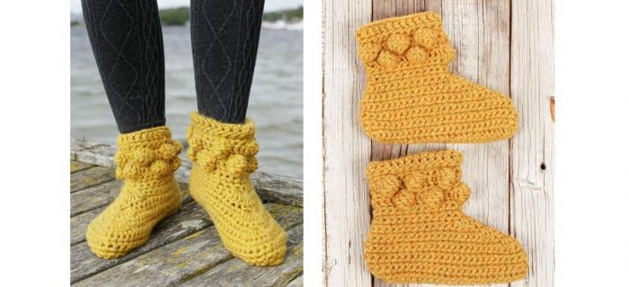 Crocheted Shiny Sunshine Slippers | thecrochetspace.com