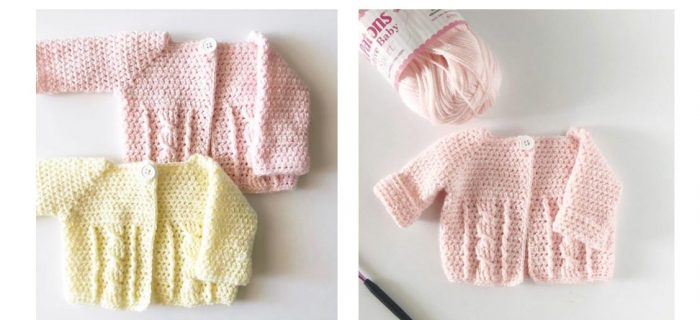 Twisted Cable Crochet Baby Sweater | thecrochetspace.com