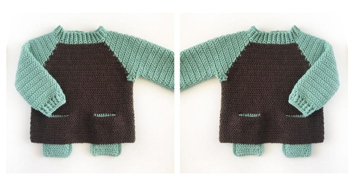 Two-Pocket Baby Crochet Sweater | thecrochetspace.com