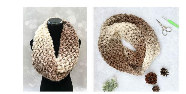 Coffee-Bean Crochet Infinity-Scarf | thecrochetspace.com