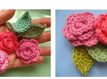 Crocheted Rose Applique Flowers | thecrochetspace.com