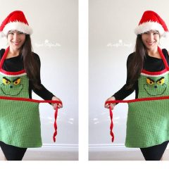 Easy Adult Chistmas Apron   thecrochetspace.com