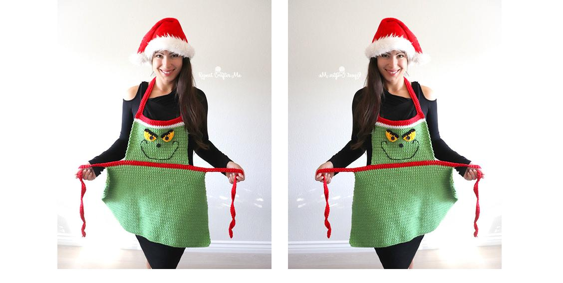 Easy Adult Chistmas Apron | thecrochetspace.com