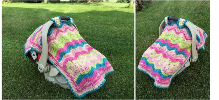 Crocheted Baby Car Seat Blanket | thecrochetspace.com