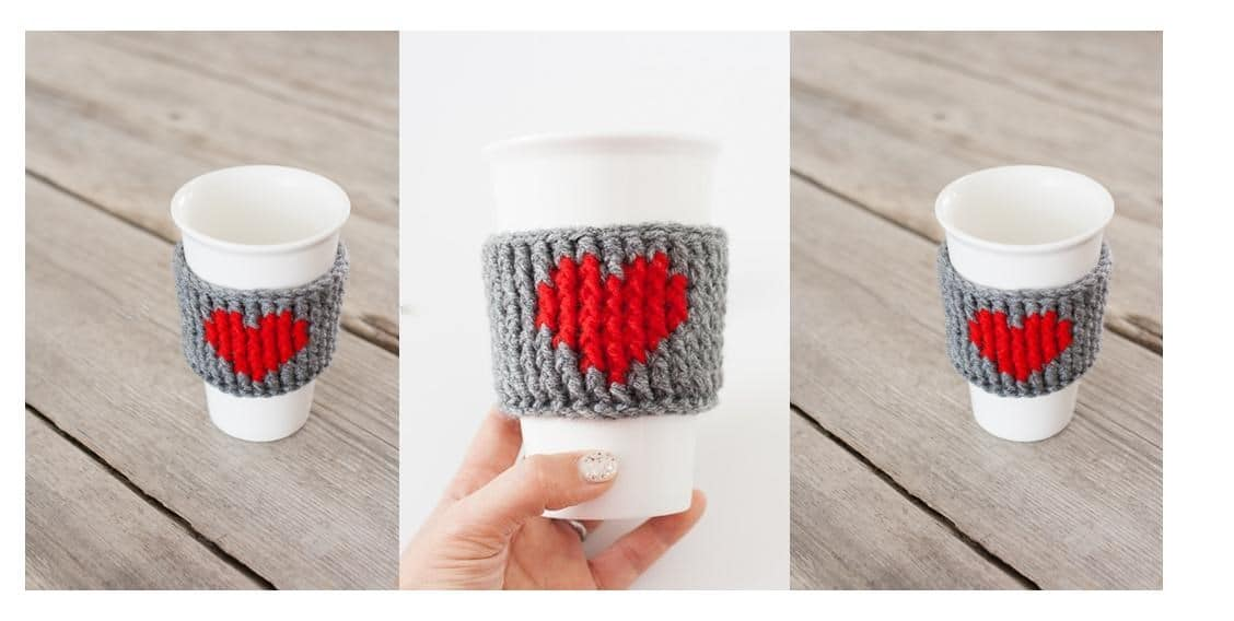 Crocheted Heart Cup Warmer | thecrochetspace.com
