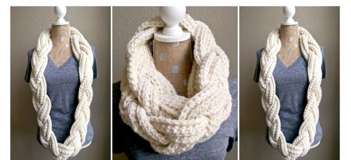 Crocheted Braided Infinity Scarf | thecrochetspace.com