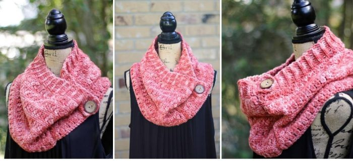 Crocheted Clearwater Button Cowl | thecrochetspace.com