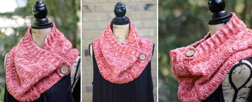 Crocheted Clearwater Button Cowl [FREE Crochet Pattern]