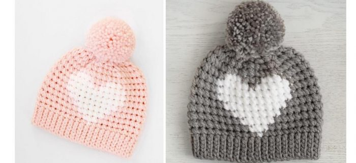Crochet Valentine Heart Hat | thecrochetspace.com