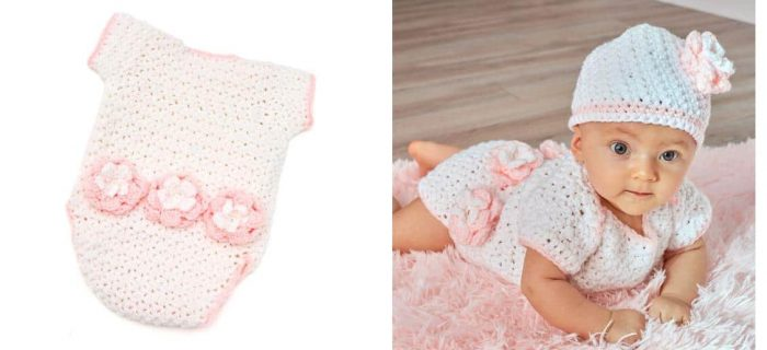 Crocheted Floral Onesie And Hat | thecrochetspace.com