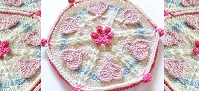 Loving Crochet Heart Hexagon | thecrochetspace.com